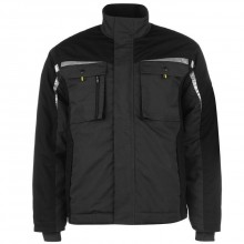 Men's work jacket is made of  65% polyester, 35% cotton and have 8 pockets.  Machine washable