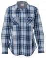 Ladies Vintage Plaid Long Sleeve Shirt 162038